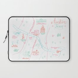 Austin, Texas Illustrated Calligraphy Map Laptop Sleeve