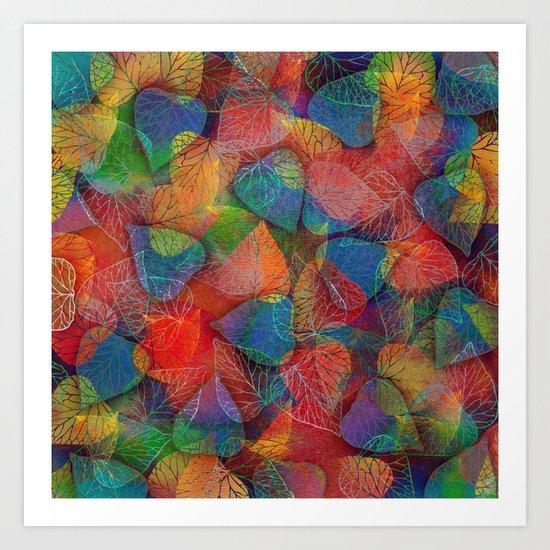 Multicolor Leaves Art Print