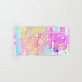 Abstract Mix - Lemon Yellow, Magenta & Turquoise Hand & Bath Towel