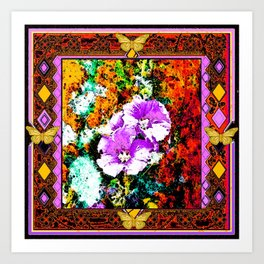 Rustic Hollyhocks Garden Butterfly Western Abstract Art Art Print