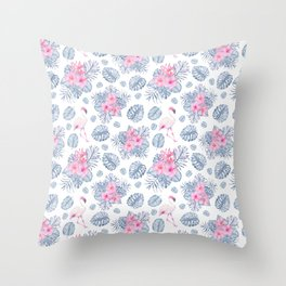 Tropical pink blue watercolor flamingo floral Throw Pillow
