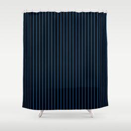 Lapis Blue and Black Stripes Shower Curtain