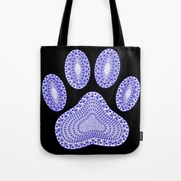 Blue Ink Dog Paw Tote Bag