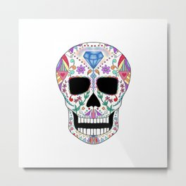 Diamond Sugar Skull Metal Print