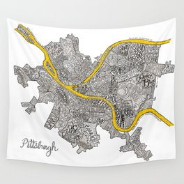 Pittsburgh Neighborhoods | 3 Gold Rivers Wall Tapestry