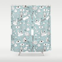 school Shower Curtains featuring Old School by naidl