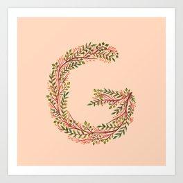 Leafy Letter G Art Print