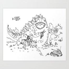 """""""Big Snake Vs. Big Lizard"""" lineart (Farts 'N' Crafts episode 3) Art Print"""