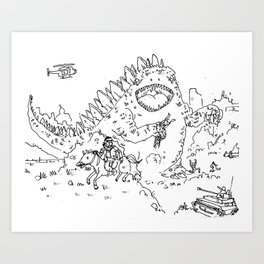 """Big Snake Vs. Big Lizard"" lineart (Farts 'N' Crafts episode 3) Art Print"