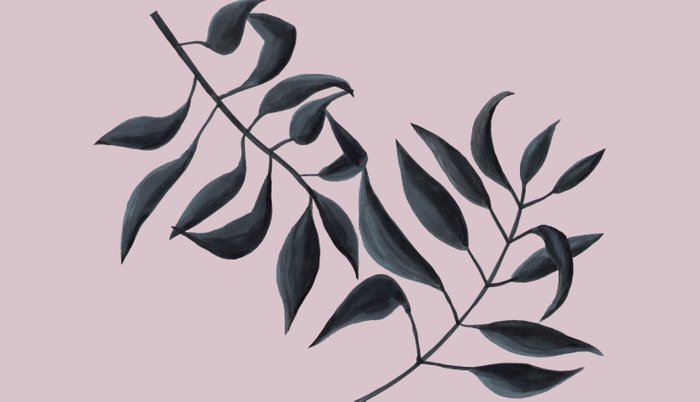 Grey Leaves on Pink Pillow Sham