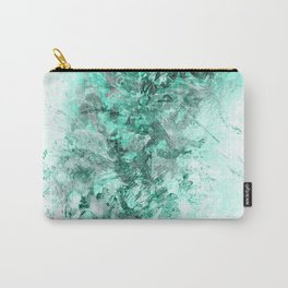 Abstract Aqua Floral Grunge Carry-All Pouch