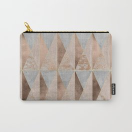Copper Foil and Blush Rose Gold Marble Triangles Argyle Carry-All Pouch