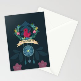 tick-tock cuckoo clock Stationery Cards