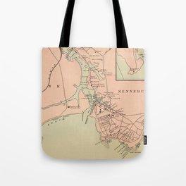 Vintage Kennebunkport & Cape Arundel ME Map (1894) Tote Bag