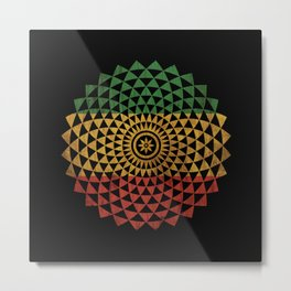 Rasta Flower of Life Metal Print