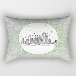 Philadelphia, Pennsylvania City Skyline Illustration Drawing Rectangular Pillow