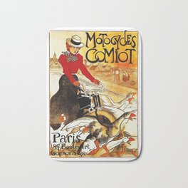Vintage Comiot Motorcycle Ad - Paris Bath Mat