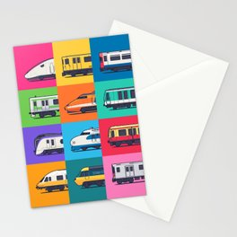 World Trains Grid Pattern Stationery Cards