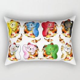 Maneki neko with lucky koi carp  Rectangular Pillow