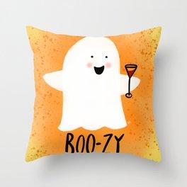Boozy Ghost Throw Pillow