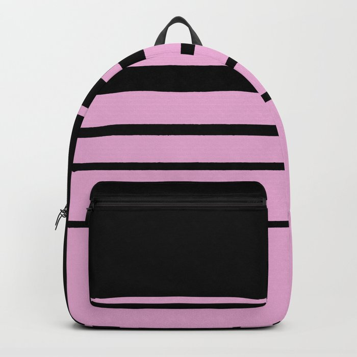 Black and pink classic striped pattern . Backpack