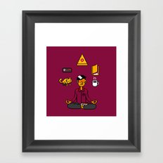 Meditation Games Coffee and Books Framed Art Print