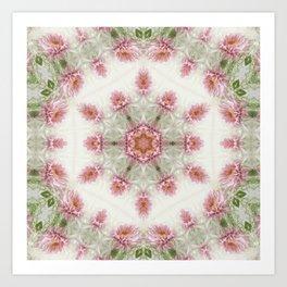 Pink Chrysanthemums Kaleidoscope Art 4 Art Print