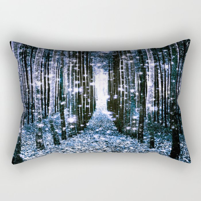 Magical Forest Dark Blue Elegance Rectangular Pillow