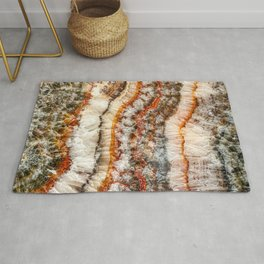 Agate Crystal IV // Red Gray Black Yellow Orange Marbled Diamond Luxury Gemstone Rug
