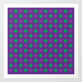 Double Purple and Green 11 Point Stars Art Print