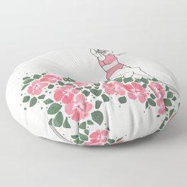 Girl on a Wave Floor Pillow