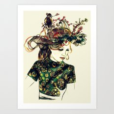 Birds Nest Hat Oriental Dress Girl  Art Print