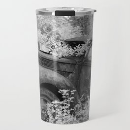 Rusting Pickup with Tree Grown in Cab Black and White Infrared Travel Mug