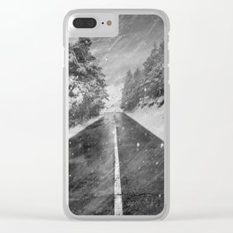 """Snowstorm in the road"" At the mountains Clear iPhone Case"