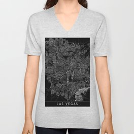 Las Vegas Black Map Unisex V-Neck