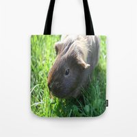 guinea pig Tote Bags featuring Guinea Pig by Rose&BumbleBee