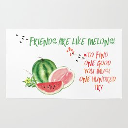 Friends are like melons - Funny illustration and typogpraphy Rug