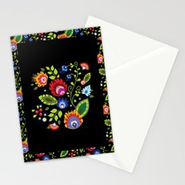 Folklore - multicoloured flowers and leaves Stationery Cards