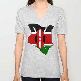 Kenya Map with Kenyan Flag Unisex V-Neck