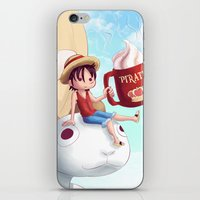 luffy iPhone & iPod Skins featuring Straw Hat Luffy by Amber Graves