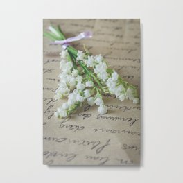 Love letter with lily of the valley Metal Print