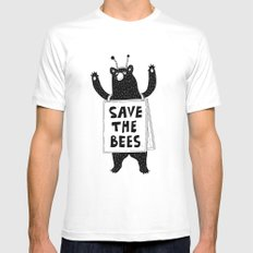 SAVE THE BEES White SMALL Mens Fitted Tee