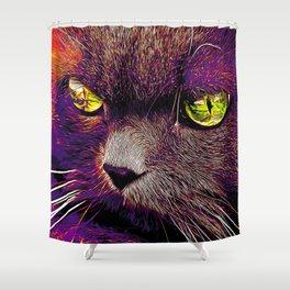 persian cat great eyes evil look vector art late sunset Shower Curtain
