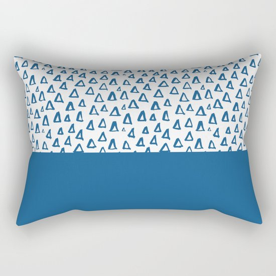 Triangles Blue Rectangular Pillow