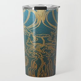 Art Nouveau,teal and gold Travel Mug