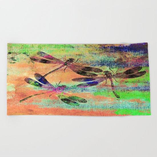 Mauritius Vintage Dragonflies Colours C Beach Towel