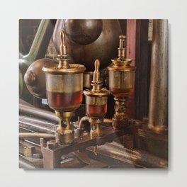 Steam engine oilers - square Metal Print
