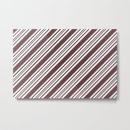 Pantone Red Pear and White Thick and Thin Angled Lines - Diagonal Stripes Metal Print