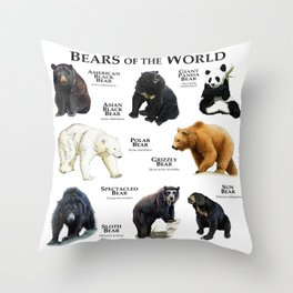 Bears of the World Throw Pillow