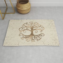 Tree of life Pastel Gold on Canvas Rug